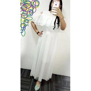 Raabta Fashion White Cold Shoulder Ruffled Dress