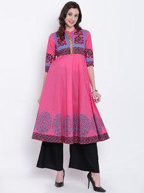 Varkha Fashion Women's Pink Block Print Cotton Stitched Kurti