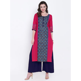 Varkha Fashion Women's Pink Block Print Cotton Stitched Kurti