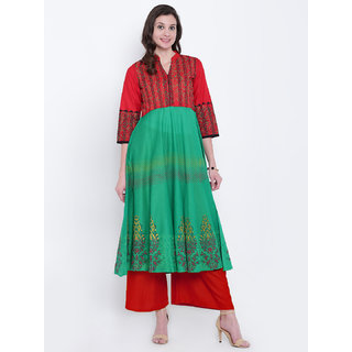 Varkha Fashion Women's Green Block Print Cotton Stitched Kurti