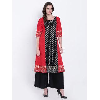 Varkha Fashion Women's Red Block Print Cotton Stitched Kurti