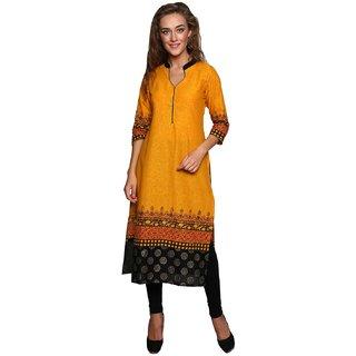 Varkha Fashion Women's Yellow Block Print Cotton Stitched Kurti