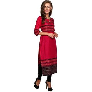 Varkha Fashion Women's Black Block Print Cotton Stitched Kurti