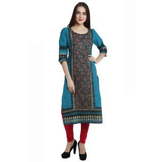 Varkha Fashion Women's Green Block Print Cotton Stitched Kurti