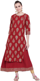 Pinky Pari Red Rayon Double Layered Kurti