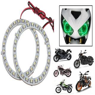 KunjZone Angel Eyes Led Ring Light For Cars  Bikes Headlight - Green Set Of 2