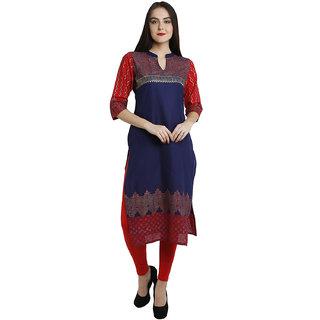 Varkha Fashion Women's Blue Block Print Cotton Stitched Kurti