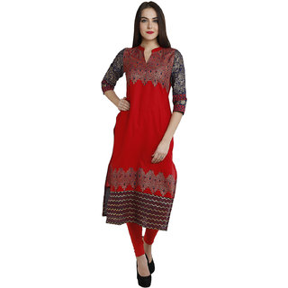 Varkha Fashion Women's Red Block Print Cotton Stitched Kurti