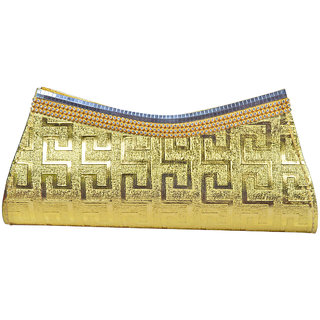 Adbeni Hand Golden Clutch