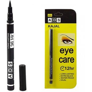 ADS Ultra fine eyeliner + ADS Kajal waterproof for long lasting