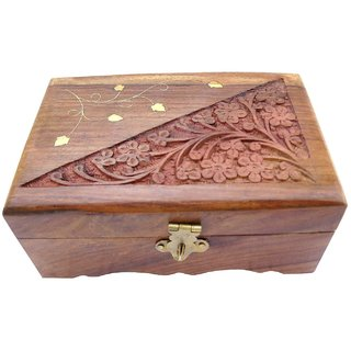 ITOS365 Wooden Jewelry Box Handicrafted Flower Carving Gift