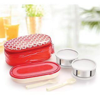 Cello Big Bite Lunch Packs (3 Container) Red