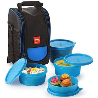 Cello Max Fresh Super Lunch Box Set 4-Pieces Blue