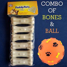 Combo of Dog Bones Chew (3 inch) 6pcs  Dog Squeak Toy Ball (1pc)