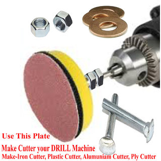 Make Cutter your Drill Use 4 Inchi PVC Plate + Nut+ Bolt+Washer--1 Pics full Fittings