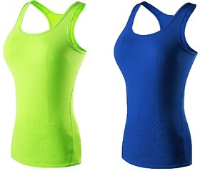 The Blazze Women's Yoga Tank Top Compression Racerback Top Baselayer Quick Dry Sports Runing Vest Pack Of 2