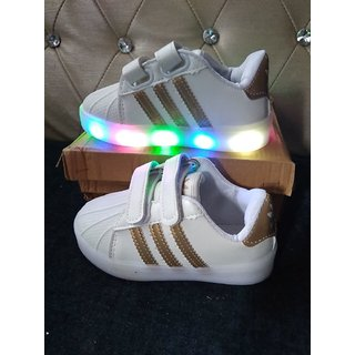 White Led Shoes With Golden Line