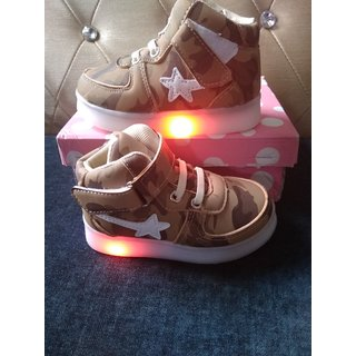 Camouflage Synthetic Leather Led Sneaker Brown