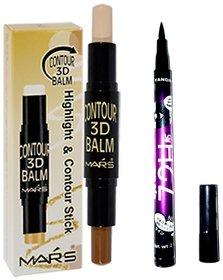 Mars Contour 3D Stick Concealer Beige,Brown 6.2 gm  with 72H eyeliner pencil