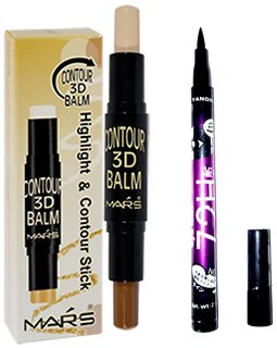 Mars Contour 3D Stick Concealer Beige,Brown 6.2 gm  with 72H eyeliner pencil
