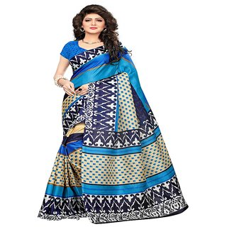 0b2f6a1523d9f0 Buy Indian Beauty Women s Sky-Blue Color Khadi Jute Silk Printed Saree With  Blouse Online - Get 85% Off