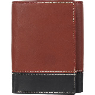 29K PU Leather Brown Black Mens Tri-fold Wallet - (29KTRFLDBRN1)