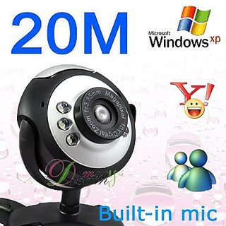 BiNFUL 1 Piece Black Color NEW( 20.0 Mega Pixel 20.0 M 6 )LED USB PC Camera Webcam+Mic