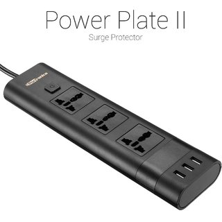 Portronics POR-671 Power Plate II three 5A Electrical Universal Sockets and 3 USB Ports Surge Protector