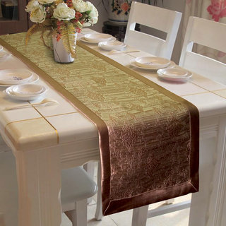Lushomes Choco Jacquard Design 2 Table Runner with High Quality Polyester Border (Size: 16