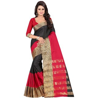 Ethinista Black Colored Cotton Saree With Matching Blouse