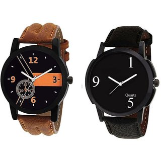 LEBENZEIT Leather Strap Analog Watch Professional Look Perfect Gift for Men Boys - Combo of 2