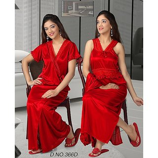 421a5efbe3e Sexy Night Set 2p Nighty Overcoat Hot Women Bed Sleep Wear 366E Red  Valentine