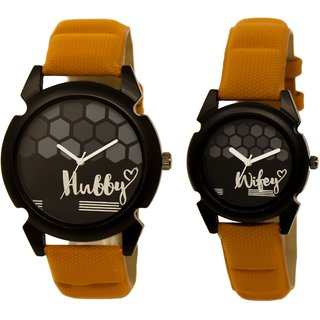 LORETTA TRENDY LATEST COUPLE LEATHER WATCHES PACK OF 2
