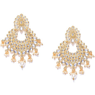7af4ac69c10b9 Zaveri Pearls Gold Tone Traditional Kundan Pearl Dangle Earring-ZPFK7362