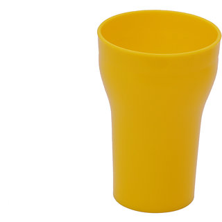 Carrolite Glass Unbreakable Stylish Yellow color Round Glass (300 ml )