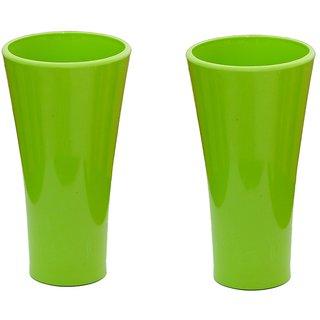 Unbreakable Multipurpose classic Green Glass  300 Ml  Set of 2