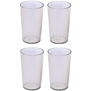 Unbreakable Multipurpose Daily use Round Transparent Glass  300 ml Set of 4
