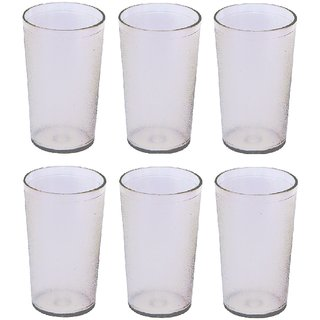 Unbreakable Multipurpose Daily use Round Transparent Glass  300 ml Set of 6