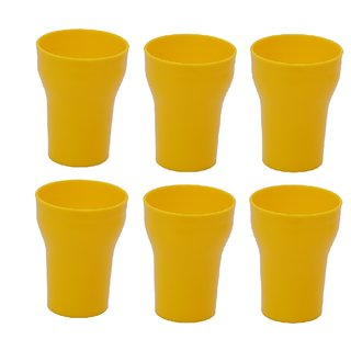 Unbreakable Multipurpose Fancy Glass  Yellow 300 ml Pack of 6