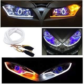 Audi Style 2 pcs Amber White Sequential Flow Strip LED Flexible DRL Headlight Turn Signal Switchback Light Lamp