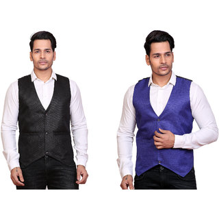 Conway Solid Men's Blue and Black Waistcoat (Pack of 2)