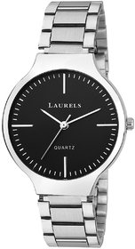 Laurels Black Color Analog Women's Watch With Metal Cha