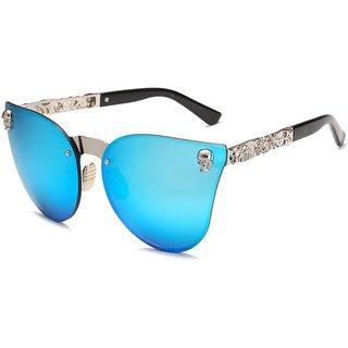 64d470f7790 Buy Women Gothic Eye-wear Frame Metal UV400 Cat Eye Sunglasses Vintage  Oversized Rimless Mirror-Blue Silver Online - Get 29% Off