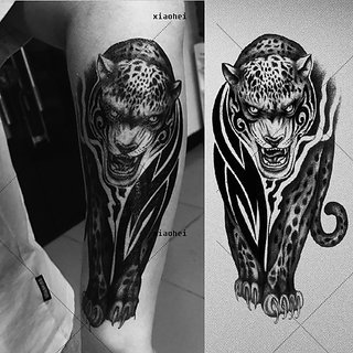 3d Temporary Tattoo Sticker Angry Leopard Tiger Popular Design Black Color For Men Makeup Women Girls Hand Arm Wrist Neck Body Leg Back Sexy Tattoo
