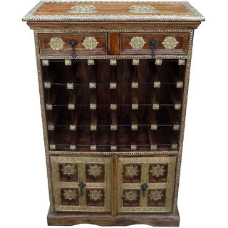 Shubham Arts Brown & Gold Color Wooden With Brass Work 2 Drawer & 24 Bottle Wine Rack