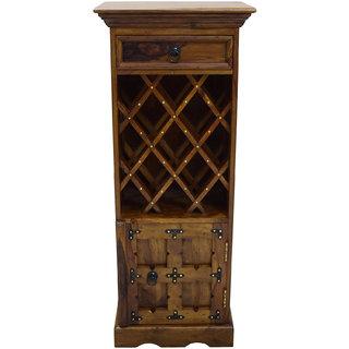 Shubham Arts Brown Color Wooden Wine Rack With 13 Wine Bottle Rack & 1 Drawer & 1 Door
