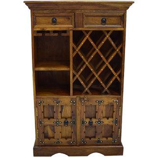 Shubham Arts Brown Color Wooden Wine Rack With 13 Wine Bottle Rack & 2 Drawer & 2 Door& 2 Shelf