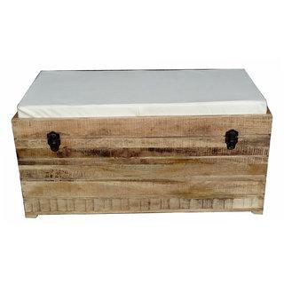 Shubham Arts Brown & White Color Wooden Sofa Box