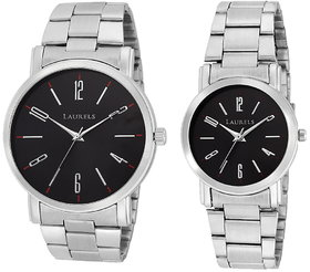 Laurels Black Color Analog Couple's Watch With Metal Ch