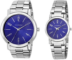 Laurels Blue Color Analog Couple's Watch With Metal Cha